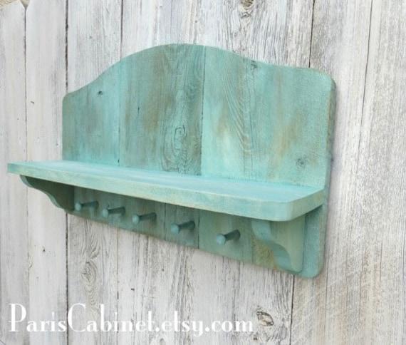 Turquoise Shabby Chic Bedrooms: Aqua Shelf Cottage Decor Shabby Chic Shelf Jewelry Holder