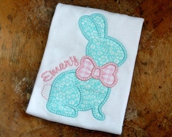 Aqua and pink chocolate bunny applique personalized Easter girls shirt, baby bodysuit or infant gown