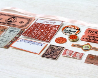 20 Piece Mini Orange Paper Ephemera Pack - Tickets, Cards, Tags, Button, Stamps, etc. Pack for Altered Arts Collage Destash