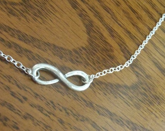 Infinity 99.9% Silver necklace - sterling silver chain with solid silver charm, PMC, .999 silver Precious Metal Clay item