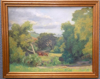 Otto Stark Antique Original Indiana Hoosier School Impressionist American Oil Painting California Plein Air Landscape Rolling Hills Cattle