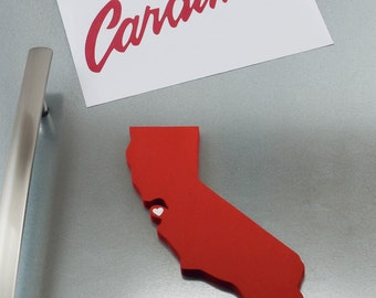 """Stanford Cardinal  """"State Heart"""" Magnet, handcrafted wood with official team colors"""