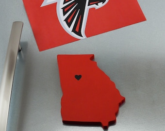 "Atlanta Falcons ""State Heart"" Magnet, handcrafted wood with official team colors"