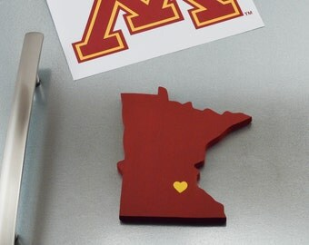 "Minnesota Golden Gophers ""State Heart"" Magnet, handcrafted wood with official team colors"