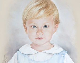 Custom Child portrait, Handmade Pastel portrait.