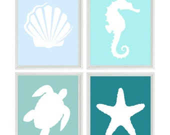 Beach Nautical Nursery Art Print Set - Blue Aqua - Sea Creature Ocean - Sea Horse Turtle Beach House Bathroom Wall Art Home Decor Set