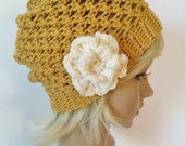 Womens crocheted slouchy beanie in sungold with ivory flower, women's beanies, beanies for women, slouchy beanies, knit hats,