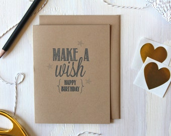 Rustic Kraft Make A Wish Happy Birthday Card / Happy Birthday Card / Rustic Birthday Card / Birthday Card / Stationery / Stationary