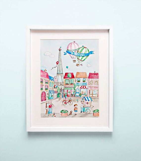 """A4 """"A Day in Paris"""" French Nursery Art Watercolor Print"""
