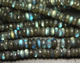 8 Inches Super Finest Natural BLUE FLASHY LABRADORITE Faceted Rondelles 8-9mm aprx