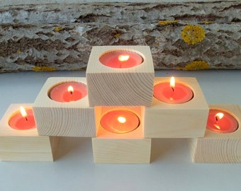 Square Wood Candle Holders -  Set of 6 - Wood Candle holders -  Wedding Favors  - Wedding Centerpiece - Wedding Decoration - Wedding  .