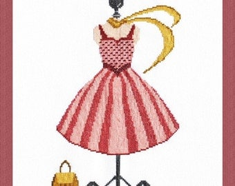 Couture Cross Stitch Chart Counted Embroidery X Stitch My Pink Dress Mannequin Fashion Style Elegant Sewing Room DIY Home Decor