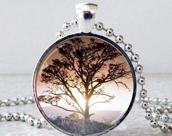 Tree Necklace, Tree Pendant, Tree Jewelry, Nature Jewelry, Tree of Life Pendant, Tree in Mist Necklace