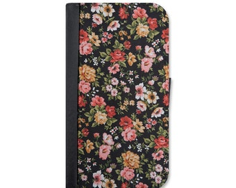 Black Floral With Roses Wallet Case For The iPhone 5/5s, 5c, 6/6s, 6/6s Plus, 7, 7 Plus, 8 or 8 Plus.