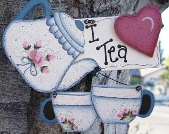 Kitchen Wood Decorative Tea Pot Sign - Wall Hanging