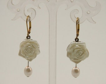 Romantic Dangling  Earrings with Pearly Roses  Antique Style