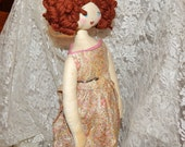 Vintage 14 1/2''  Soft Cloth Doll with Yarn Hair , Painted Face and Floral Pattern Dress