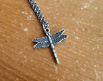 Antique Silver Dragonfly Charm Necklace 19 Inches