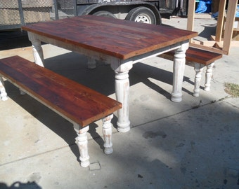 Reclaimed wood table and two benches custom made in the USA from reclaimed wood