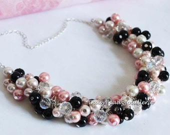 Black and Pink, Pearl Cluster Necklace, Bridesmaids Jewelry, Black and Pink Cluster Pearl Necklace, Bridesmaids Gifts, Pink Chunky Necklace