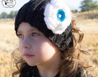 Knit Headband, Ear Warmer with Flower, Flower Headband, Knit Children, Adults, Toddler, Women, Girls, Hand Knit- Custom Color