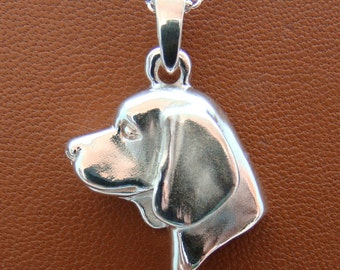 Large Sterling Silver Beagle Head Study Pendant