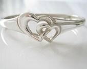 Vintage Heart Bracelet Sterling Silver Bangle bracelet