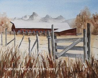 barn painting landscape painting landscape watercolor painting farm painting farm barn PRINT barn PRINT farm Wall hanging folk art  11x14