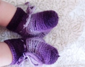 Handknitted Purple Striped Baby Booties
