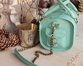 SALE Luxury Leather Doctor's Bag, Mint Green, Polka Dot Lining