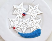 Silver Star Garland Hanging Decoration, Mexican Tin Foil Decor, Red White Blue Silk Tassel