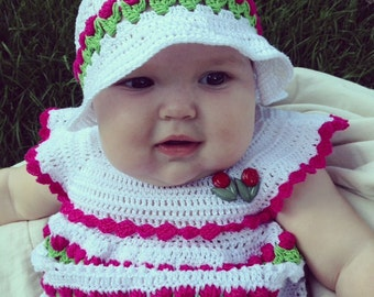 Garden Dress, Sun Hat, Diaper Pants and Pacifier with Holder and Headband
