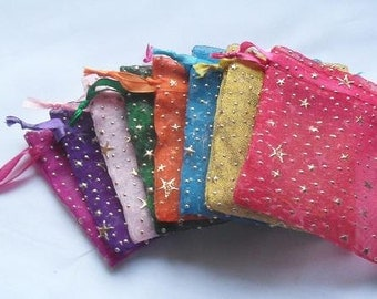 100 3x4 Organza bags in Mix of minimum 6 colors, printed with stars & dots favor bags, jewelry supplies