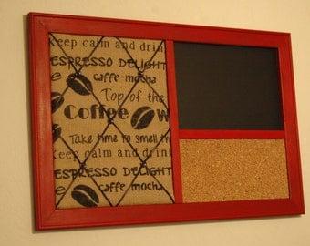 Coffee Burlap French Memo Board,  Cork board & Chalkboard Kitchen Organizer in a barnwood red frame