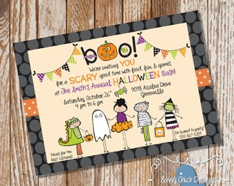 DIY Halloween Party Invitations - Cute Costume Party - Adorable Kid's Halloween Invites - Printable - DIGITAL FILE