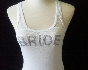 Bridesmaid tank tops.Bride lace back tank. Bachelorette party. Wedding bridal party. Rhinestone wedding date