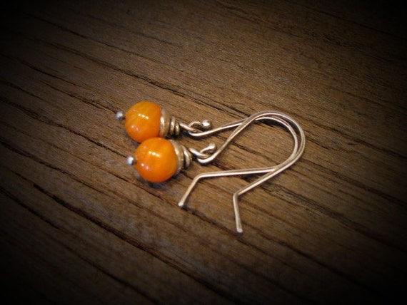 Sterling Silver and Orange River Shell Beads-Handmade/Hand Forged   Dangle Earrings