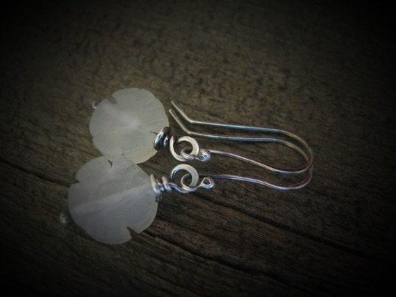 Genuine Jade Semi-Precious Stones and Sterling Silver Earrings Handmade/Hand Forged  Dangle Earrings