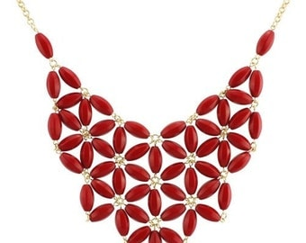 Red Necklace, Red Bib Necklace, Red Beaded Necklace, Tessellate Necklace, J Crew Necklace, Flower Necklace