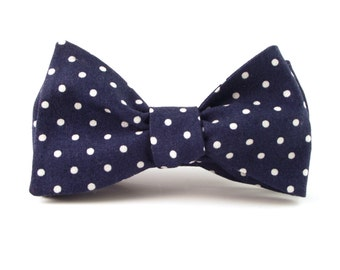 Navy Bow Tie, Mens Navy Blue and White Polka Dot Bowtie - Traditional Self-Tie or Pre-Tied
