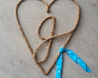 Western Rope Art: Initial Heart WITH a bandanna