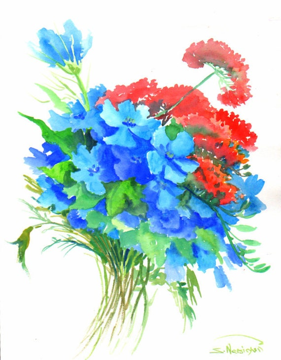 Bright blue red wild flowers original watercolor painting for Bright flower painting