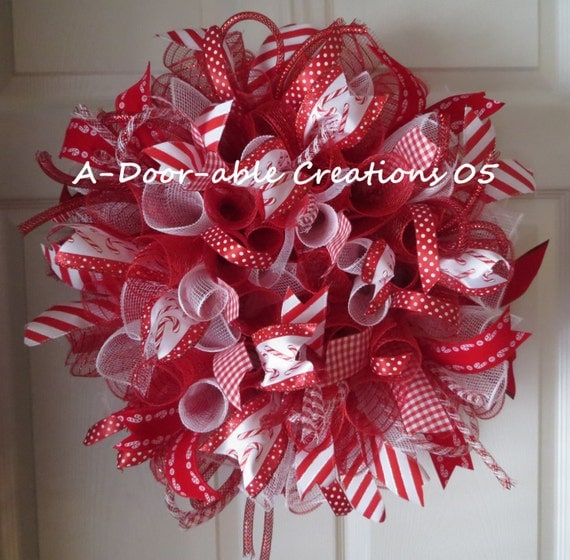 TAKE 15% Off.Use coupon code:CHRISTMAS2013...SALE..see shop for details..Candy Cane Inspired Spiral Deco Mesh Wreath
