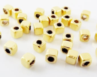 30 NEW Tiny 3mm Cube Beads - 22k Matte Gold Plated Brass