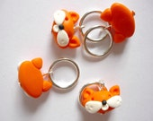 Fox knitting stitch markers, snagfree knitting, fox stitch markers, handmade polymer clay charms - UK seller