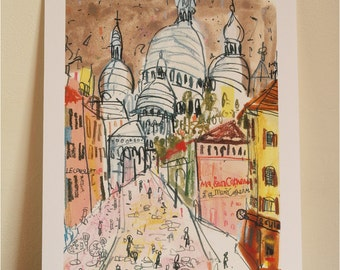 SACRE COEUR PARIS, Montmartre Art, Signed Paris Giclee Print, Mixed Media Parisian Watercolor Painting, Clare Caulfield, French Wall Art