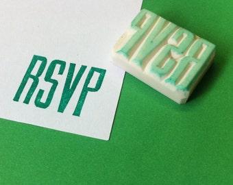 RSVP hand carved rubber stamp - wedding stamp, RSVP stamp, hand carved rubber stamp, handcarved stamp, wedding rubber stamp, love stamp