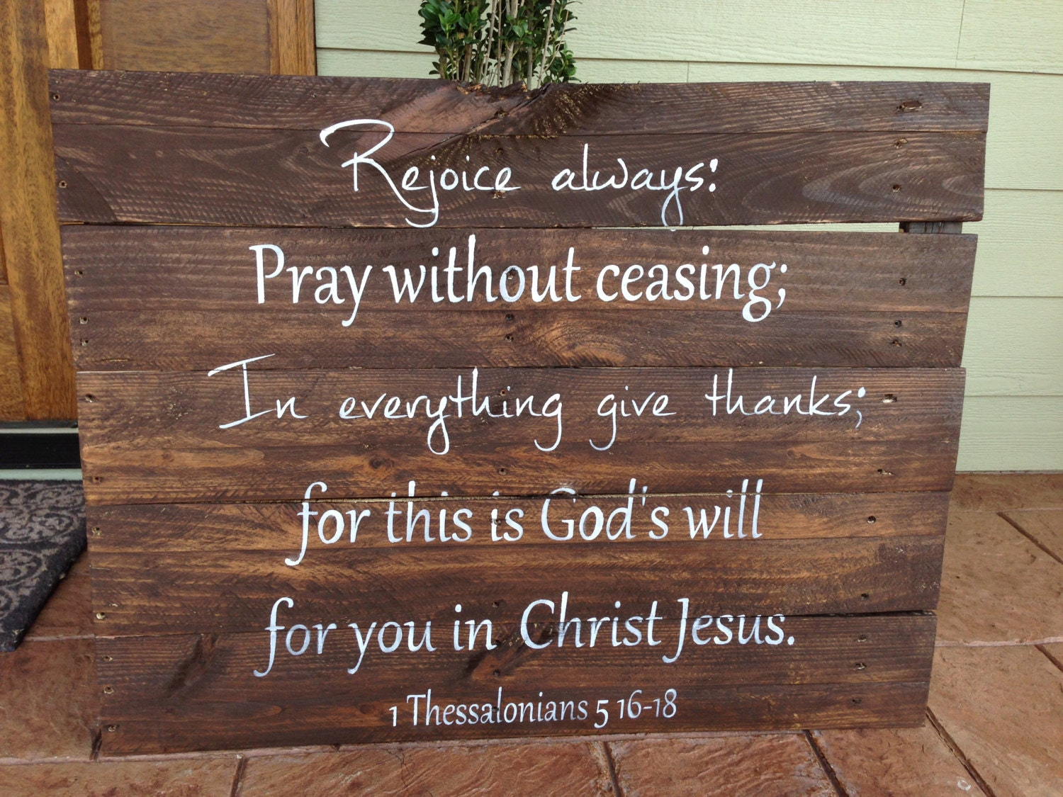 Large Reclaimed Wood Custom Bible Verse 1 Thessalonians