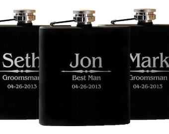 Personalized Flask Wedding Gift, 7 Groomsman Flasks, Custom Etched Flasks, Groom Wedding Gift, Personalized Best Man Flasks