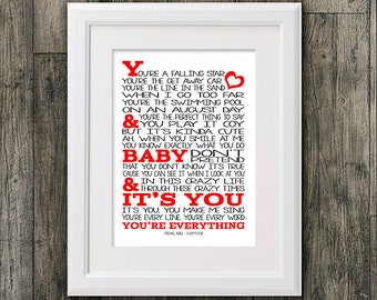 Michael Buble  Everything. 8x10 picture mount & Print Typography song music lyric for self framing